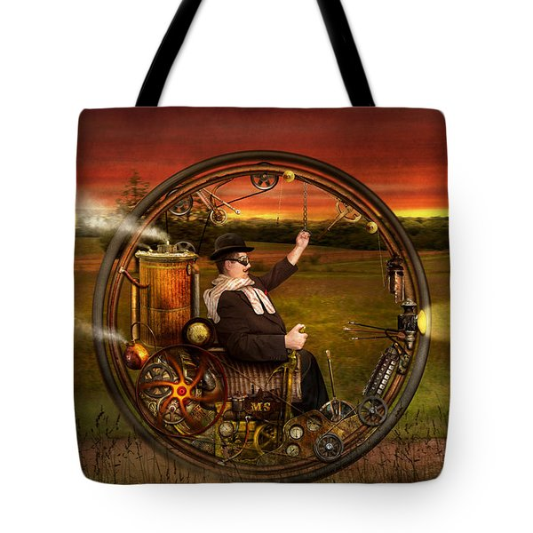 Steampunk - The gentleman's monowheel Tote Bag by Mike Savad