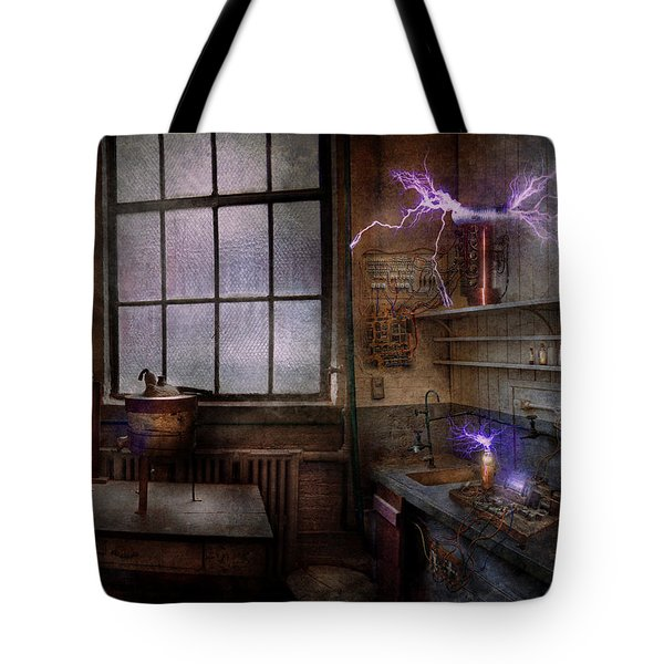 Steampunk - The Mad Scientist Tote Bag by Mike Savad