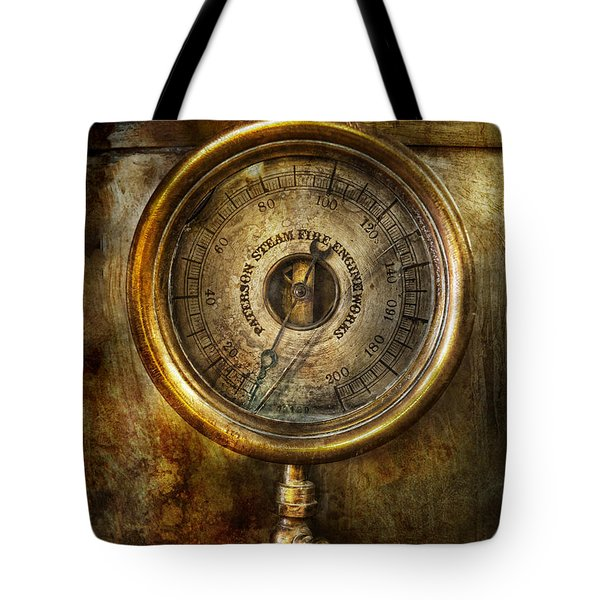 Steampunk - The pressure gauge Tote Bag by Mike Savad
