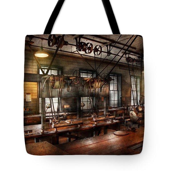 Steampunk - The Workshop Tote Bag by Mike Savad