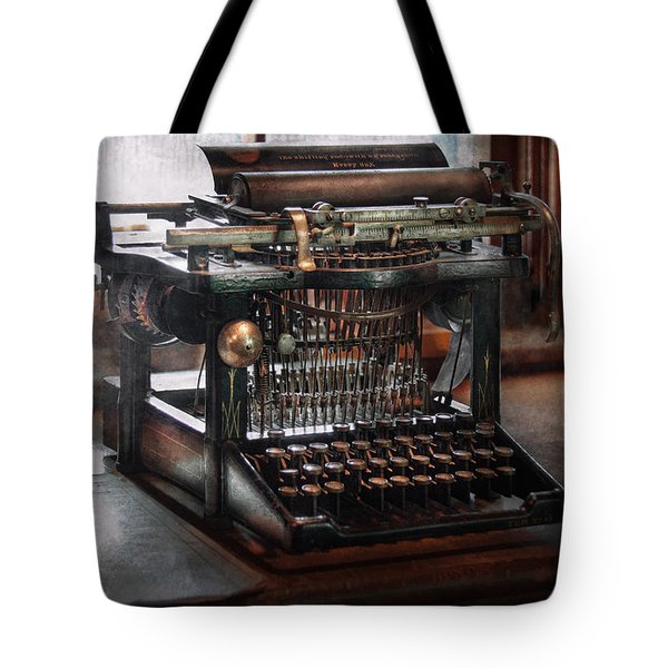 Steampunk - Typewriter - A Really Old Typewriter Tote Bag by Mike Savad