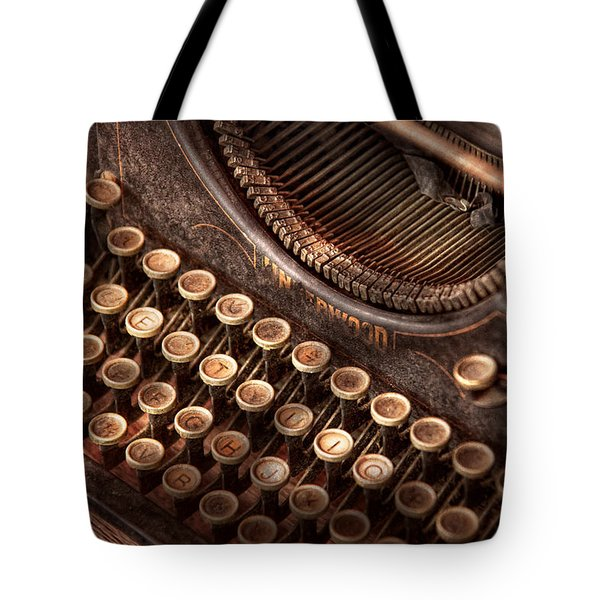 Steampunk - Typewriter - Too tuckered to type Tote Bag by Mike Savad