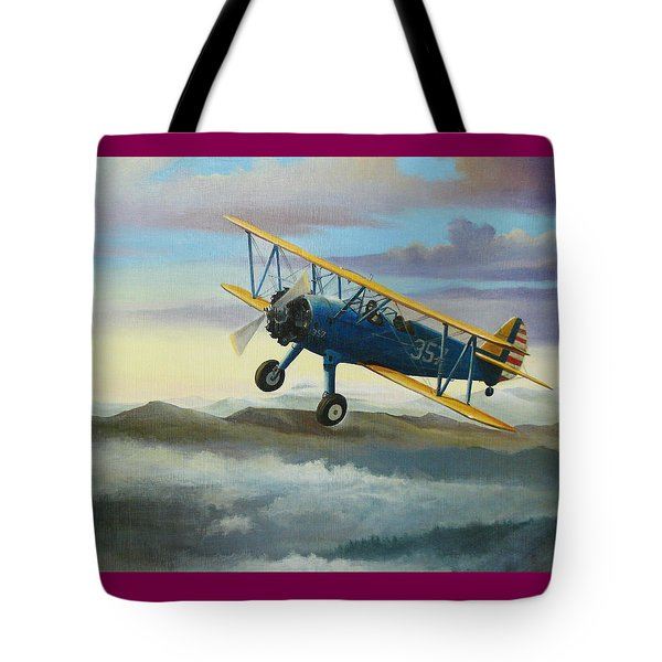 Stearman Biplane Tote Bag by Stuart Swartz