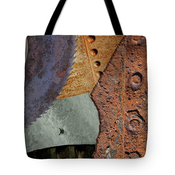 Steel Collage Tote Bag by Fran Riley