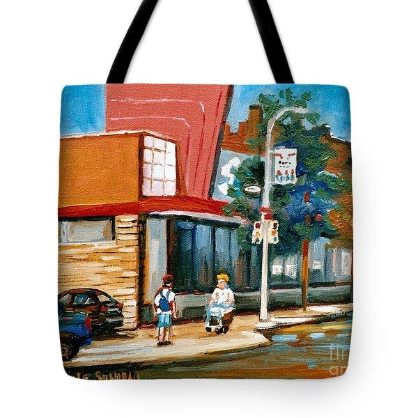 Steinberg's  On Van Horne Street Outremont Montreal Landmarks Tote Bag by Carole Spandau
