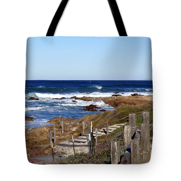 Steps To The Sea Tote Bag by Barbara Snyder