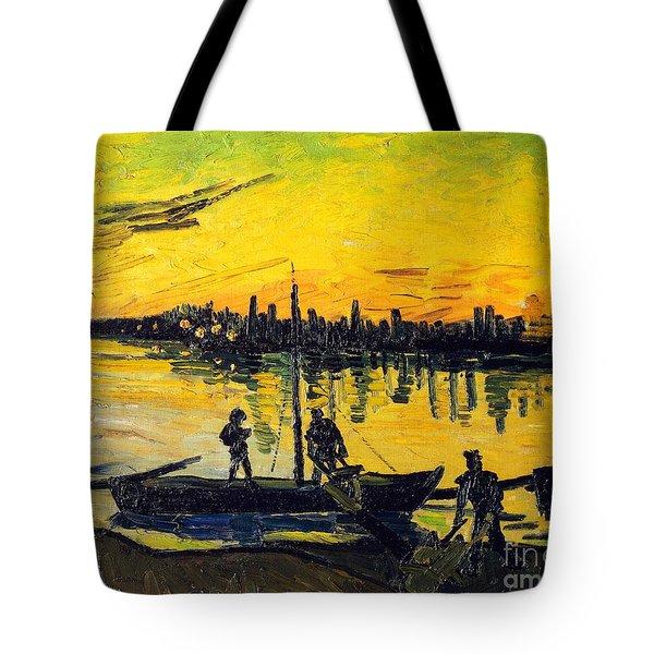 Stevedores In Arles Tote Bag by Vincent van Gogh