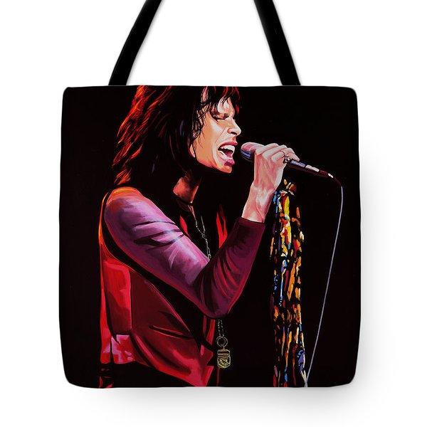 Steven Tyler In Aerosmith Tote Bag by Paul Meijering