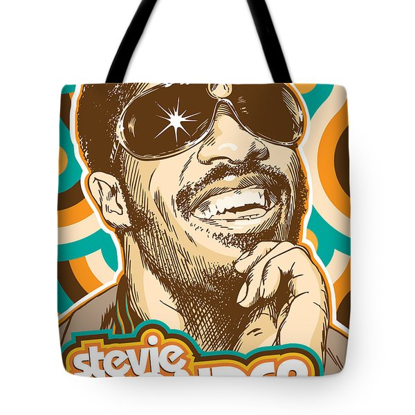 Stevie Wonder Pop Art Tote Bag by Jim Zahniser