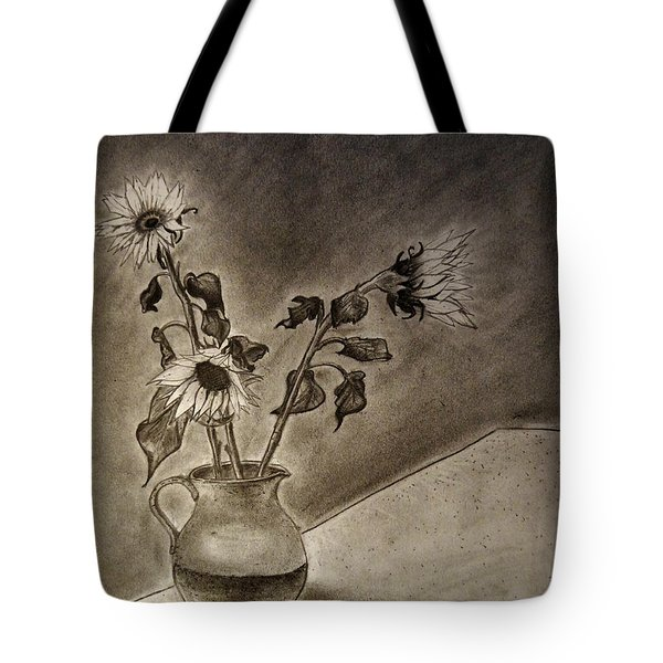 Still Life Ceramic Pitcher With Three Sunflowers Tote Bag by Jose A Gonzalez Jr