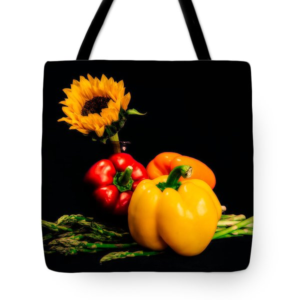 Still Life Peppers Asparagus Sunflower Tote Bag by Jon Woodhams