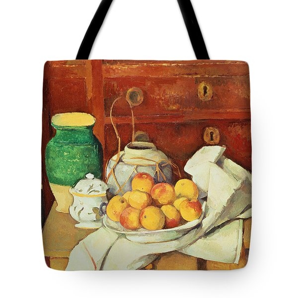 Still Life With A Chest Of Drawers Tote Bag by Paul Cezanne