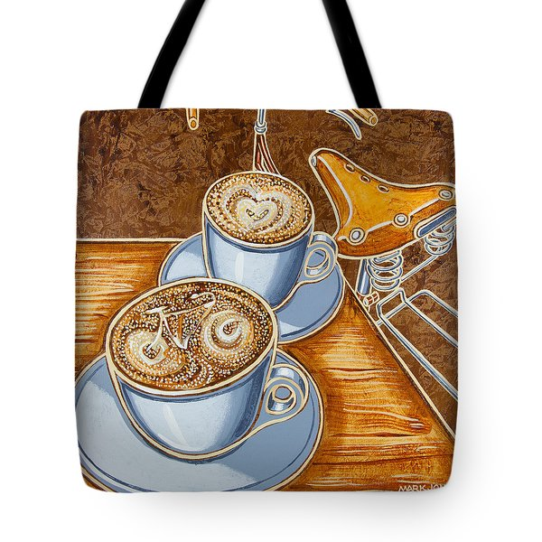 Still life with bicycle Tote Bag by Mark Howard Jones