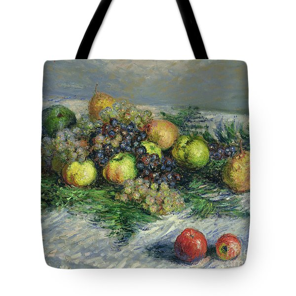 Still Life With Pears And Grapes Tote Bag by Claude Monet