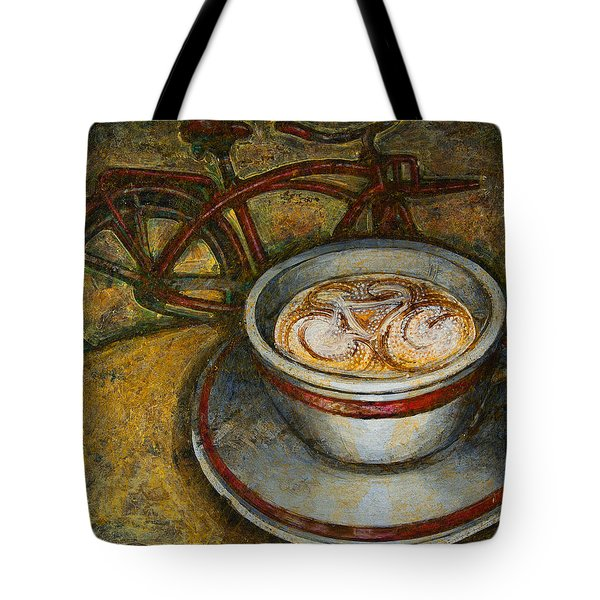 Still life with red cruiser bike Tote Bag by Mark Howard Jones