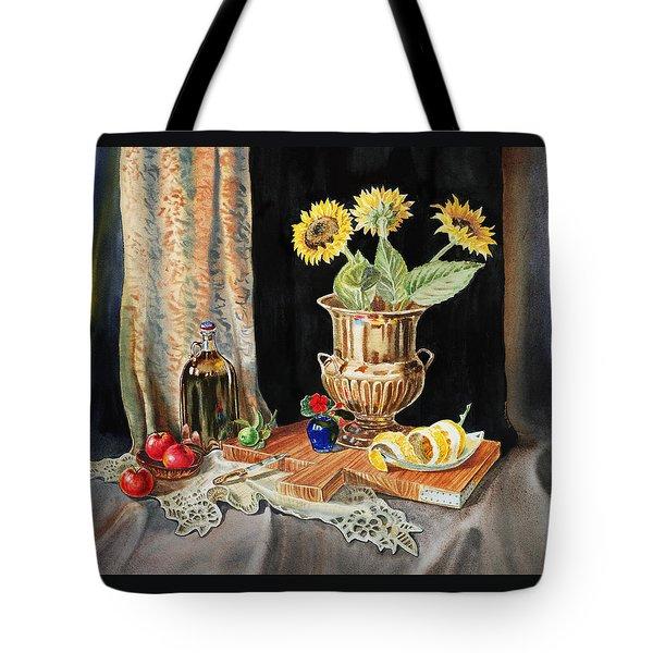 Still Life With Sunflowers Lemon Apples And Geranium  Tote Bag by Irina Sztukowski