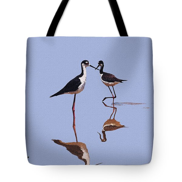Stilts In The Blue Tote Bag by Tom Janca