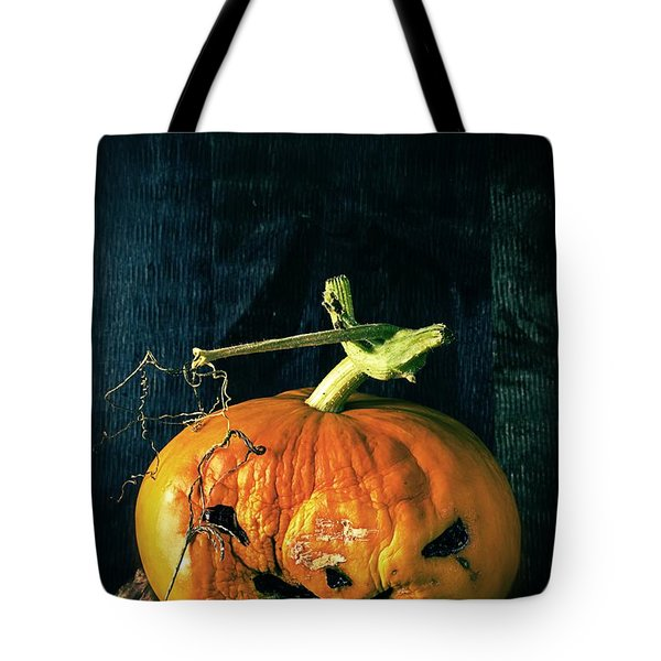 Stingy Jack - Scary Halloween Pumpkin Tote Bag by Edward Fielding