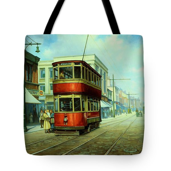 Stockport Tram. Tote Bag by Mike  Jeffries