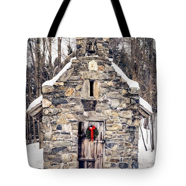Stone Chapel in the Woods Trapp Family Lodge Stowe Vermont Tote Bag by Edward Fielding