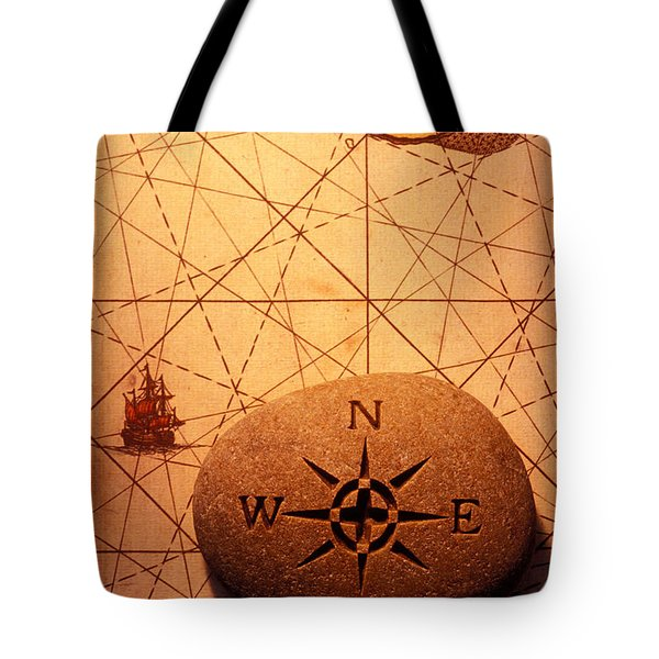 Stone Compass On Old Map Tote Bag by Garry Gay