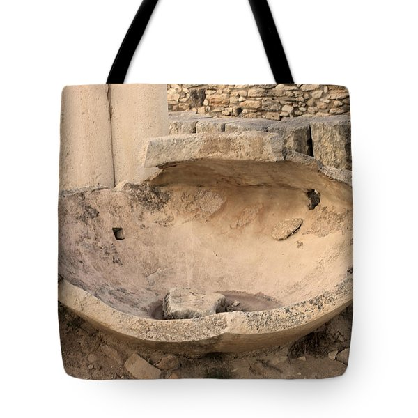 Stone Jar At Temple Of Apollo Tote Bag by Augusta Stylianou