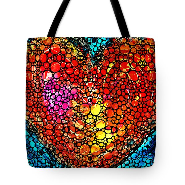 Stone Rock'd Heart - Colorful Love From Sharon Cummings Tote Bag by Sharon Cummings