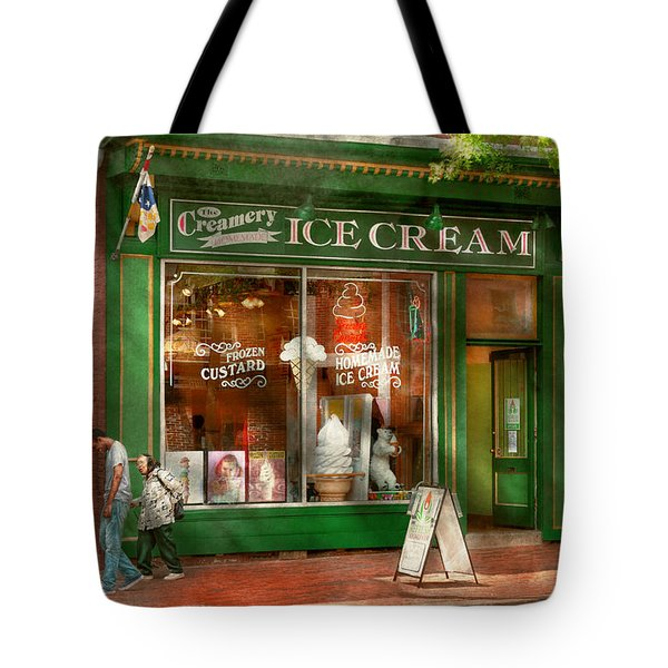 Store Front - Alexandria Va - The Creamery Tote Bag by Mike Savad