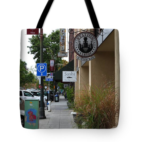 Storefronts In Historic Railroad Square Area Santa Rosa California 5D25806 Tote Bag by Wingsdomain Art and Photography