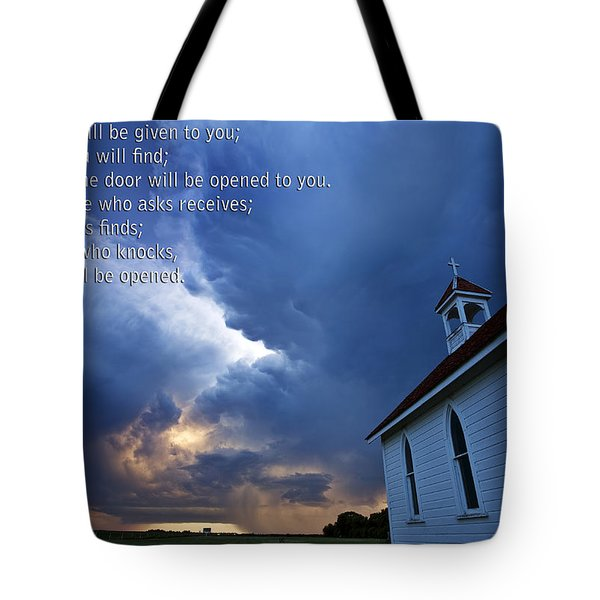 Storm Clouds And Scripture Matthew Country Church Tote Bag by Mark Duffy