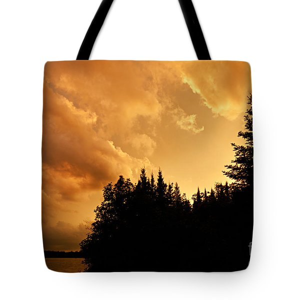 Storm Clouds At Sunset Tote Bag by Larry Ricker