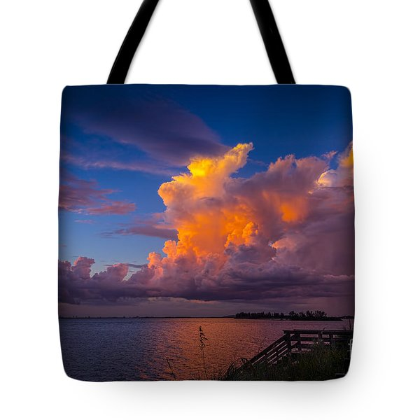 Storm on Tampa Tote Bag by Marvin Spates