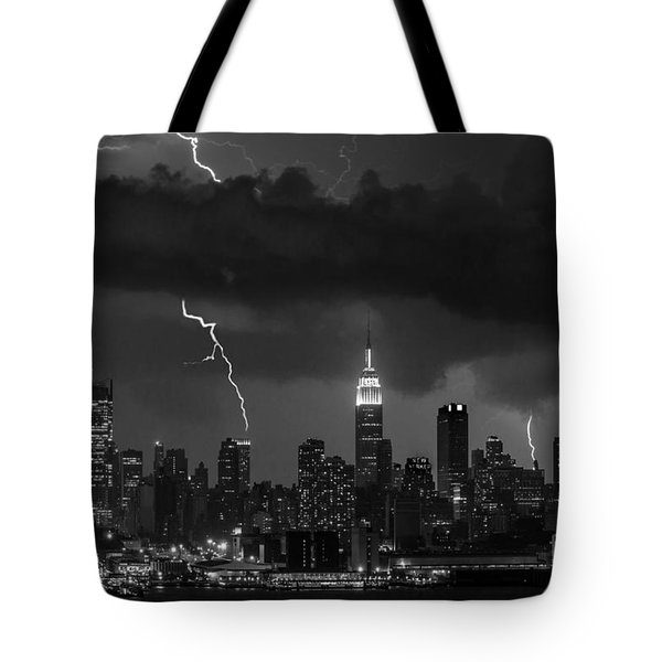 Storm Over Nyc  Tote Bag by Jerry Fornarotto