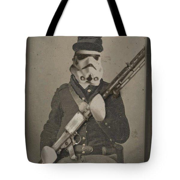 Storm Trooper Star Wars Antique Photo Tote Bag by Tony Rubino