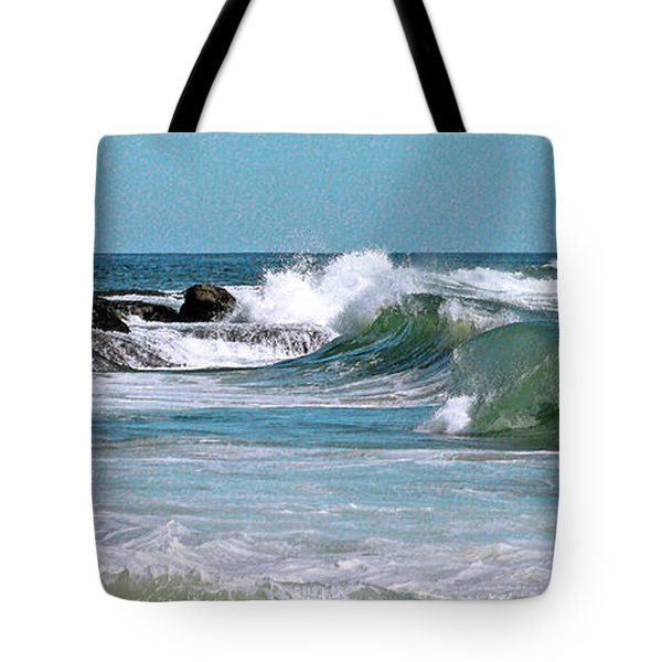 Stormy Lagune - Blue Seascape Tote Bag by Ben and Raisa Gertsberg