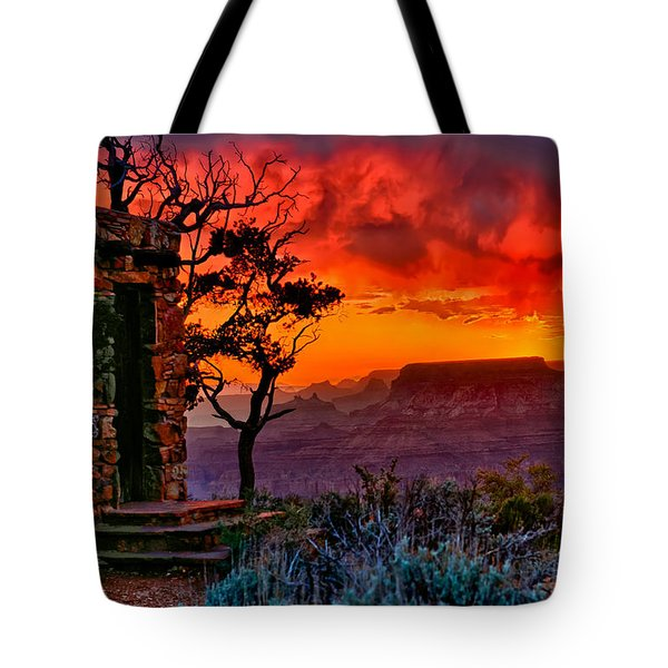 Stormy Sunset At The Watchtower Tote Bag by Greg Norrell