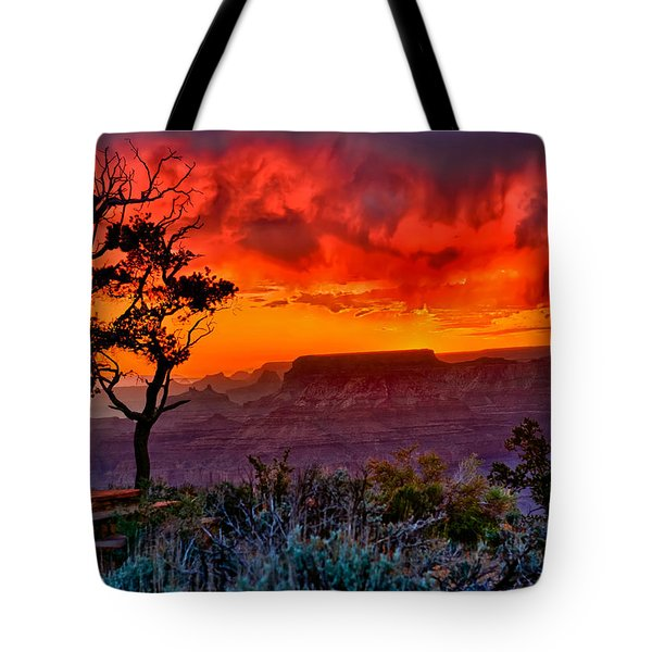 Stormy Sunset Greeting Card Tote Bag by Greg Norrell