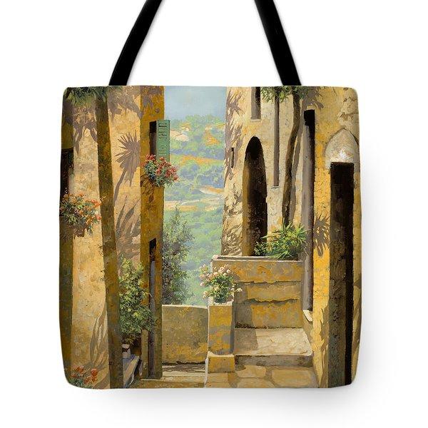 stradina a St Paul de Vence Tote Bag by Guido Borelli