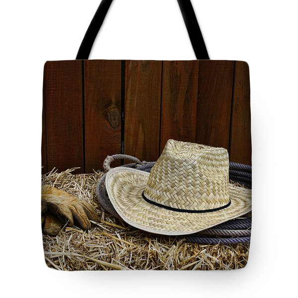 Straw Hat  On  Hay Tote Bag by Paul Ward