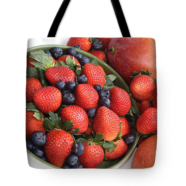 Strawberries Blueberries Mangoes And A Banana - Fruit Tray Tote Bag by Andee Design