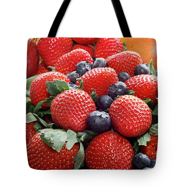Strawberries Blueberries Mangoes - Fruit - Heart Health Tote Bag by Andee Design
