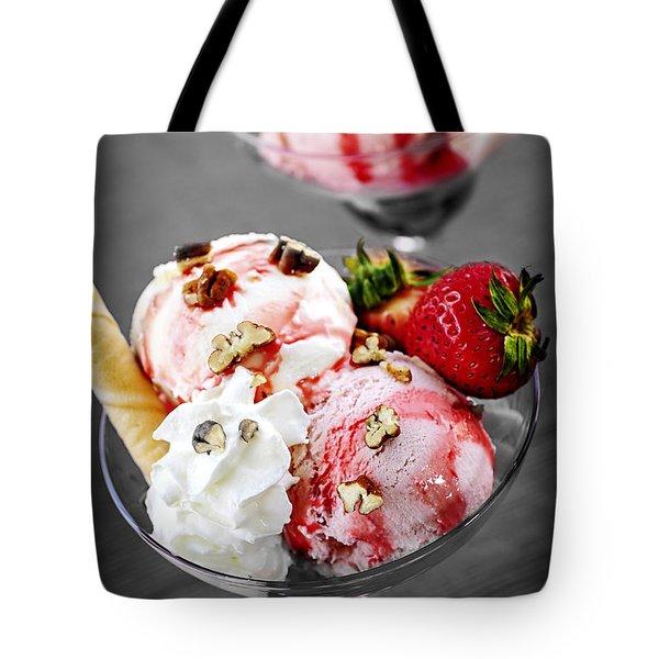Strawberry Ice Cream Sundae Tote Bag by Elena Elisseeva