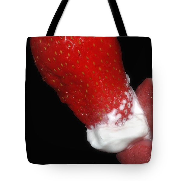 Strawberry Lips and Cream Tote Bag by Joann Vitali