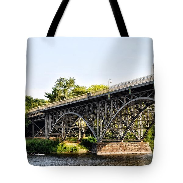 Strawberry Mansion Bridge And The Schuylkill River Tote Bag by Bill Cannon