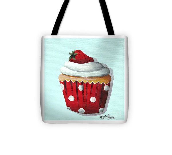 Strawberry Shortcake Cupcake Tote Bag by Catherine Holman