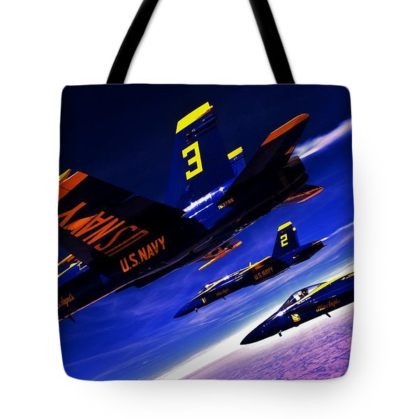 Streaking Blues Tote Bag by Benjamin Yeager
