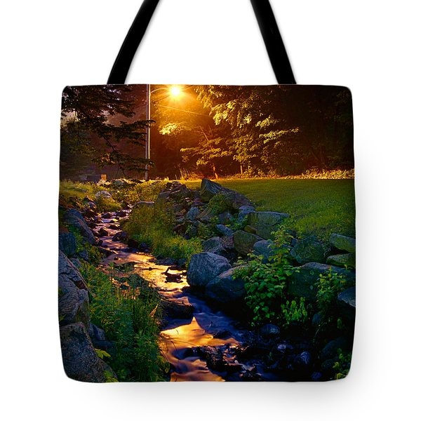 Stream By Streetlight Tote Bag by Mark Miller