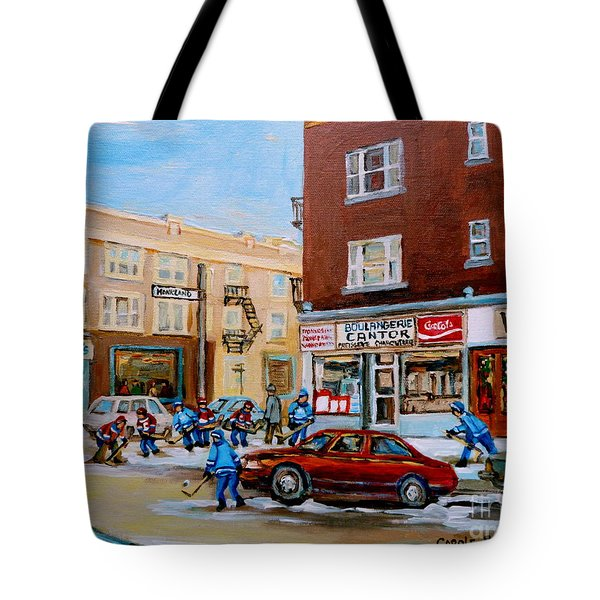 Street Hockey On Monkland Avenue Paintings Of Montreal City Scenes Tote Bag by Carole Spandau