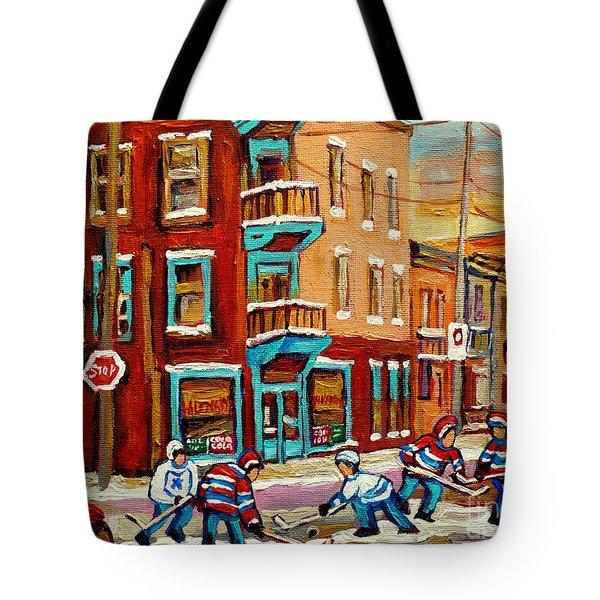 Street Hockey Practice Wilensky's Diner Montreal Winter Street Scenes Paintings Carole Spandau Tote Bag by Carole Spandau