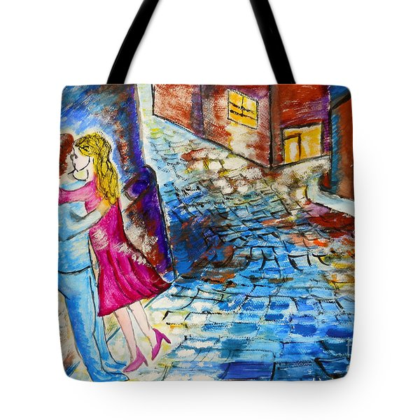 Street Kiss by Night  Tote Bag by Ramona Matei